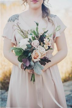 Peach and Silver Embellished Bridesmaid Dress | Mintwood Photo Co. | Elegant DIY Wedding in an Autumn Garden