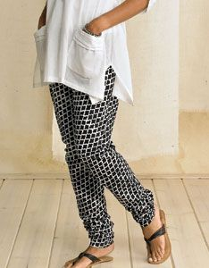 Churidars: Our take on leggings with a new and improved fit, perfect to wear with the long tunics of the season. Traditional Indian drawstring pants are made form soft cotton cut on the bias for ease. Length is extra long (really, quite long!) and made to gently gather at the ankle.