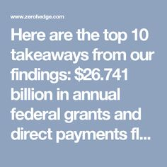 Here are the top10 takeaways from our findings: $26.741 billion in annual federal grants and direct payments flowed into America's 106 sanctuary cities (FY2016). On average, the cost of lost federal funding for a family of four residing in one of the 106 sanctuary cities is $1,810 – or $454 per person. A total population of 46.2 million residents live in the 106 sanctuary cities according to census data. Washington, D.C., and Chicago, Illinois governments received the highest amount of…