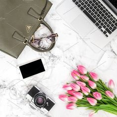 Office desk flat lay tulip flowers by LiliGraphie on @creativemarket