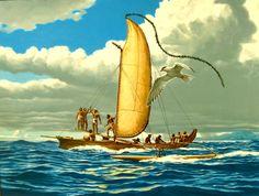 "Artist: Herb Kawainui Kane  Title: A Va'a Motu of Tahiti  Medium: oil on canvas  Dimensions: 29"" x 40""  Date: 1984  Price: sold"