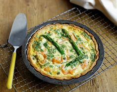 Asparagus & smoked salmon quiche from JamieOliver.com by Jamie Oliver