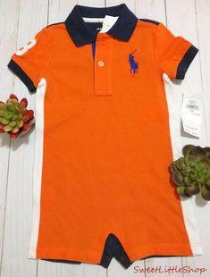 ac46cfea7 New Ralph Lauren Polo Big Pony Logo Romper Shortall Baby Boys 12 Months   RalphLauren