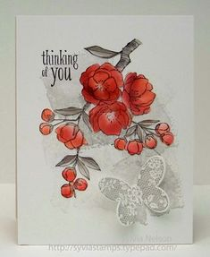 Stampin' Up! ... handcrafted card by Sylvia ... luv her collage style stamping art ... red flowers ... Indescribable gift ... watercolor swashes and butterfly in gray ...