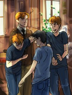 """""""Harry!"""" said Fred, elbowing Percy out of the way and  bowing deeply. """"Simply splendid to see you, old boy—"""" """"Marvelous,"""" said George, pushing Fred aside and seizing Harry's hand in turn. """"Absolutely spiffing."""" Percy scowled."""