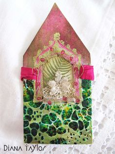 Spring pink - embroidery and collage by Velvet Moth Studio