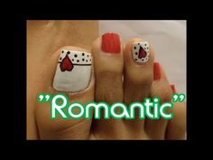 """""""Detalle Romántico"""" Decoración de Uñas de los Pies / Romantic design toe..."""
