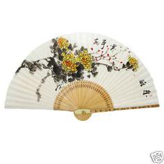 Hand Held White Paper Yellow Chrysanthemum Flower Painting Bamboo Folding Fan | eBay