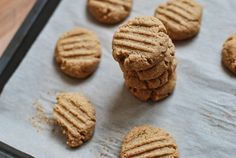 Stacked Natural Peanut Butter Cookies with Partially Eaten Cookie