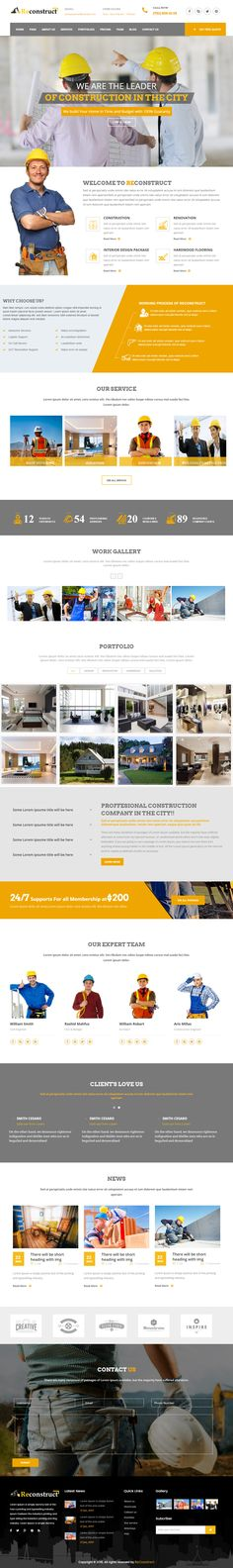 Reconstruct is Premium full Responsive Retina #ConstructionCompany template. Bootstrap 3 Framework. #Angular2. If you like this Template visit our handpicked list of best #Handyman Website Templates at: http://www.responsivemiracle.com/best-responsive-handyman-website-templates/