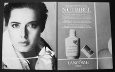 1988 Isabella Rossellini Lancome Paris Nutribel vintage skincare print art ad