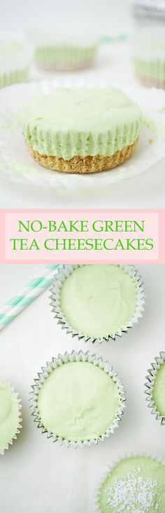 No-Bake Mini Green Tea Cheesecakes- no oven required for these creamy, light, and perfectly sweet matcha green tea cheesecakes!