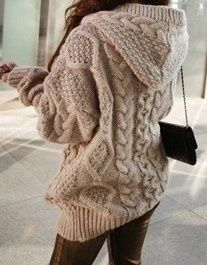 Cream cable knit hooded sweater