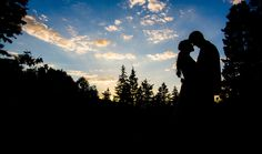 wedding photography, sunset, silhouette, bride and groom
