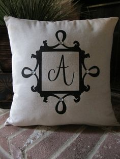 Custom Monogram Hand-Painted Pillow Cover. $20.00, via Etsy.