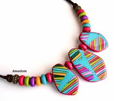 Polymer clay necklace: Colorful choker, vibrant colors, statement necklace, gift for wife, wearable art Polymer Clay Ornaments, Polymer Clay Christmas, Polymer Clay Canes, Polymer Clay Flowers, Polymer Clay Necklace, Polymer Clay Pendant, Handmade Polymer Clay, Polymer Clay Earrings, Clay Tutorials