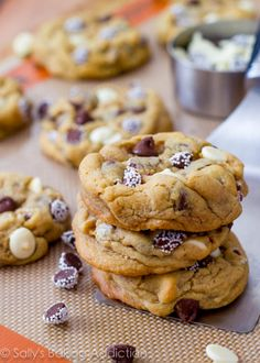 Amazing and super-thick Triple Chocolate Chip Cookies. A secret ingredient makes them so soft, thick, and irresistible!