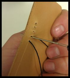 Basic Leather stitching tutorial as demonstrated by Springfield Leather Company Leather Art, Sewing Leather, Custom Leather, Leather Tooling, Leather Jewelry, Handmade Leather, Leather Diy Crafts, Leather Projects, Leather Crafting