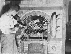 Human remains in the ovens at Dachau