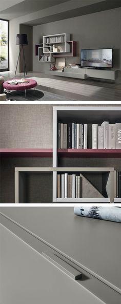 Schon Diese Moderne Livitalia Wohnwand C59 Zieht Alle Blicke Auf Sich Mit Den  Verschachtelten Bücherregal Und Lowboard