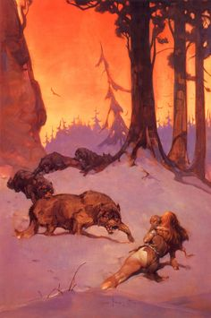 ...frank frazetta...i love this picture...her situation is so hopeless...