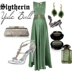 Slytherin Yule Ball    Harry Potter Inspired Outfits Green and silver