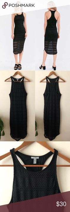e3e684295 UO Ecote Black Midi Dress Urban Outfitters Ecote Curved Hem Midi Dress  Mesh/lace like