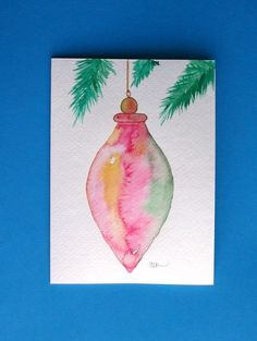 Watercolor card ( Christmas ornament greeting card Christmas ornament holiday original artblank inside by louellaa Painted Christmas Cards, Watercolor Christmas Cards, Diy Christmas Cards, Noel Christmas, Watercolor Cards, Xmas Cards, Christmas Greetings, Holiday Cards, Christmas Crafts