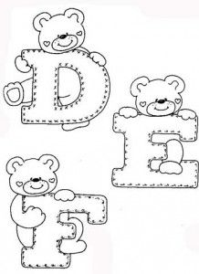 Fonts Alphabet Discover - - alphaber and teddy coloring Embroidery Alphabet, Baby Embroidery, Cross Stitch Alphabet, Felt Patterns, Applique Patterns, Colouring Pages, Coloring Books, Alphabet Templates, Alphabet Coloring