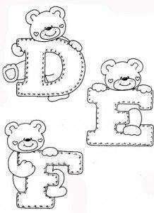 desenhos-alfabeto-ursinhos-enfeite-sala-de-aula-infantil-(1) - - alphaber and teddy coloring