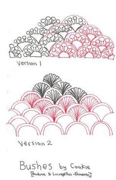 Bushez_1 | Flickr - Photo Sharing! Zentangle Drawings, Doodles Zentangles, Doodle Drawings, Easy Drawings, Drawing Sketches, Drawing Ideas, Doodle Designs, Doodle Patterns, Zentangle Patterns