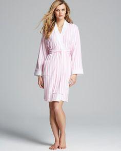 RALPH LAUREN Lauren Emerald Dune Short Kimono Robe Pink/Wh $69