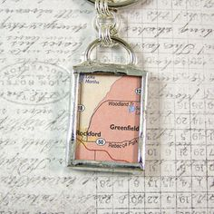 Greenfield Minnesota Map Double Sided Keychain by XOHandworks