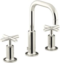 Kohler K-14406-3 Purist Widespread Bathroom Faucet with Ultra-Glide Valve Techno Polished Nickel Faucet Lavatory Double Handle