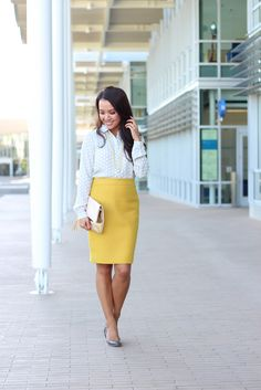 StylishPetite.com | Gray and Yellow - Loft Tonal Dot Print Button Down Blouse with J.Crew No. 2 Mustard Pencil Skirt
