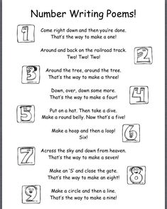 number poems for kids - Google Search