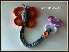 Butterfly Crochet Pacifier Holder.