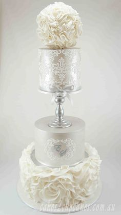 #Wedding #Cake - a simple beautiful tower in white & silver.... http://www.weddingsknowhow.com