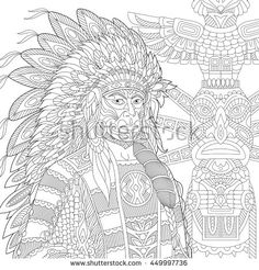 Stock Vector Of Stylized Red Indian Chief Redskin Man Wearing Traditional Headdress Freehand Sketch For Adult Anti Stress Coloring Book Page With Doodle