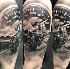 amazing motorcycle motorbike bike racing black and grey realistic art tattoo work by Csaba Tattoo Anansi Munich Germany