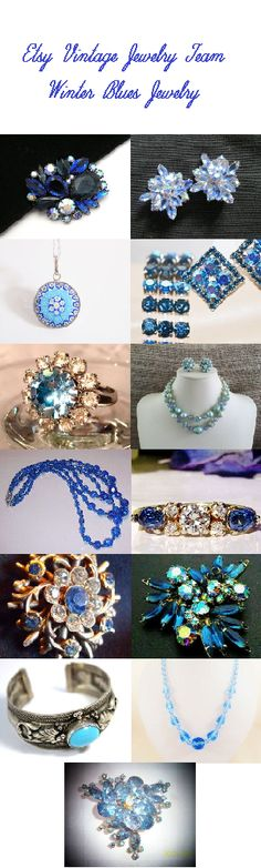 Winter Blues Jewelry from the Etsy Vintage Jewelry Team #etsyvjt