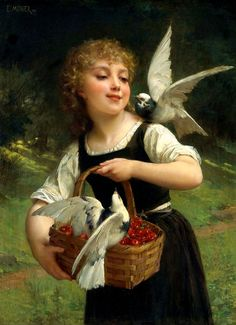 ART~ Emile Munier ~ The Simplicity Of This Painting Stuns Me Every Time I Look At It Besides, The Pigeons Are Absolutely Gorgeous!