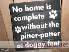 $21 No home is complete without the pitter-patter of doggy feet reclaimed pallet wood art now available in the Poverty Barn Etsy shop! #HandmadeInAmerica
