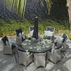 Moda Furnishings 8 Seat Round Rattan Dining Set with Drinks Cooler Garden Furniture, Outdoor Furniture Sets, Outdoor Decor, Round Dining Table, Dining Sets, Parasol Base, Garden Dining Set, Drink Table, Safety Glass
