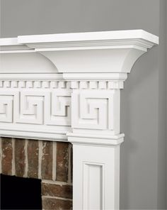 Detail of the WindsorONE Colonial Revival Mantel with dental & fretwork done in S4SSE boards. #mantels