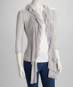 Take a look at this Gray Ruffle Pleated Open Cardigan on zulily today!