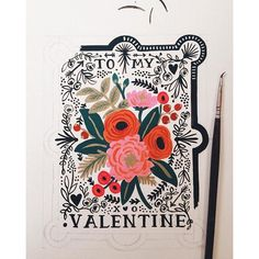 working on new vintage-inspired Valentine's Day cards (all the black paint to be gold foil printed) by annariflebond