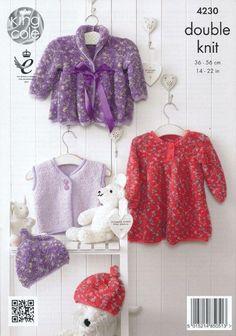 KNITTING PATTERN Baby Jacket Smocked Dress Waistcoat /& Hat Cuddles DK 4230