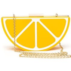 Acrylic Lemon Clutch Brand new. Never been used. Bright yellow lemon-shaped clutch with gold chain. Bags Clutches & Wristlets