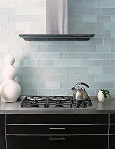 Frosted Sky Glass subway tile kitchen backsplash.